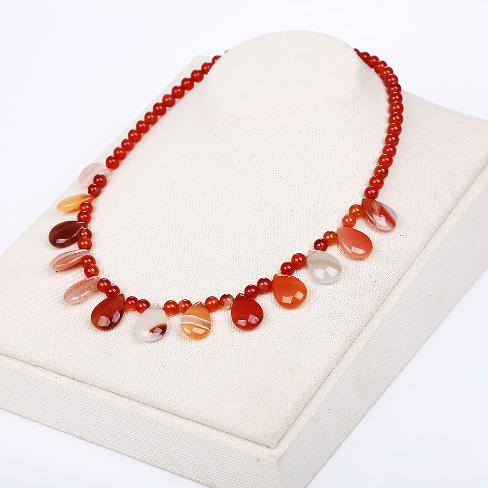 Natural Red Agate Women Necklace Crystal Power Stone Chain Water Drops Jewelry Ethnic Unicorn Coin Male Necklace For Women Long chic multilayered coin geometric necklace for women