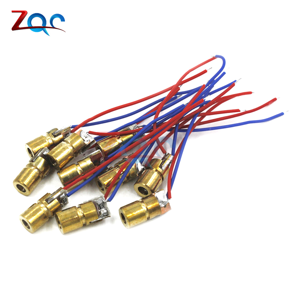 10pcs NEW 3V 650nm 5mW Adjustable Laser Dot Diode Module Red Copper Head laser pointer Hot sale 1mw 650nm red laser diode module dot size 4x13 7mm