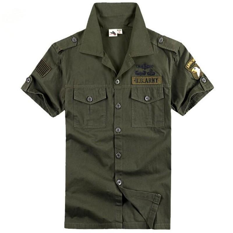 US Freedom Knight Army Shirts Green Cotton Blend Brave Eagle Embroidery Summer Short Sleeve Single Breasted Blouse in Dress Shirts from Men 39 s Clothing