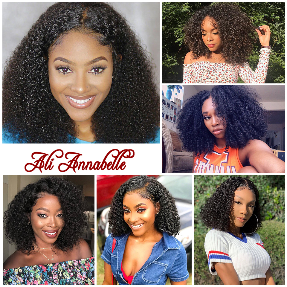 Brazilian Short Curly Lace Front Human Hair Wigs Pre Plucked With Baby Hair 13*5 Bob Lace Front Wigs For Black Women Remy Hair