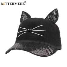 BUTTERMERE Cat Ears Hat Sequin Baseball Cap Womens Kawaii Snapback Ladies Straw Black Korean Casual Cartoon Sun Hats And