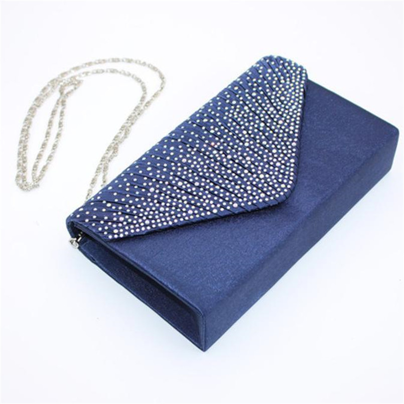 2018 New Brand Women Large Evening Satin Crossbody Bag Bridal Diamonds Ladies Clutch Bag Party Prom Envelope bolsa feminina S