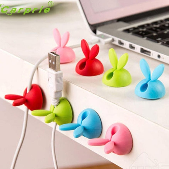 Cute Design 4pcs Cable Winder Lovely Rabbit Shaped Cable Wire Organizer Bobbin Winder Wrap Cord Office Solid Tool A28