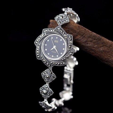 Nova Edição Limitada Clássico Prata Pura Thai Flor Pulseira Relógios Tailândia Processo Strass Dressver S925