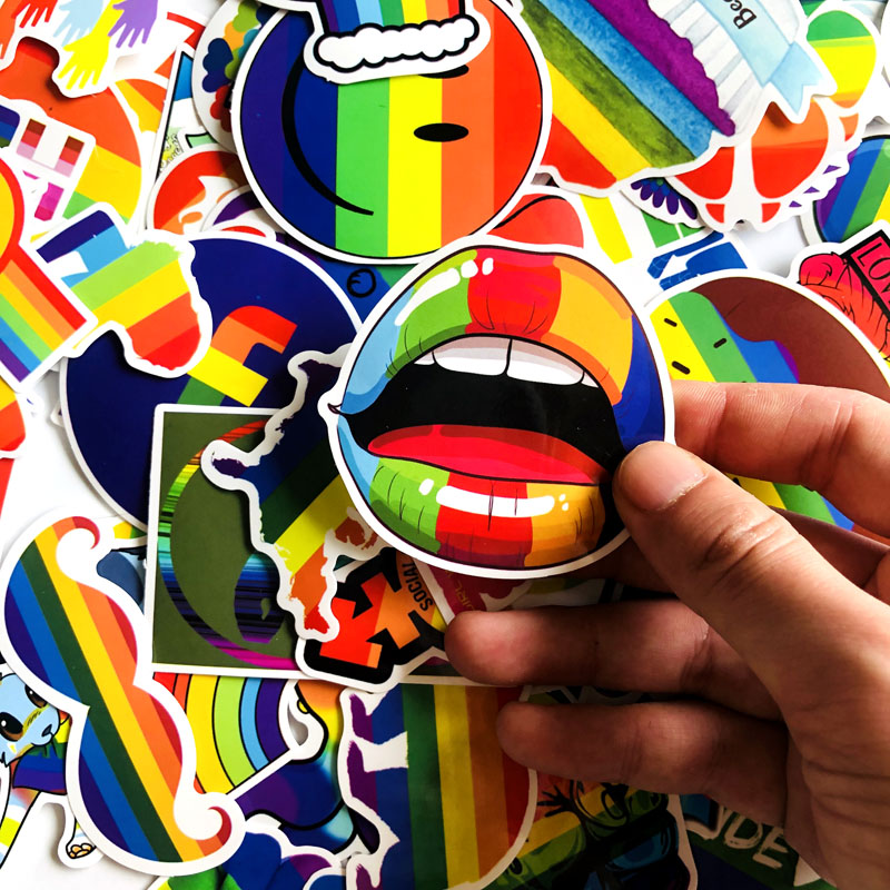 Image 2 - 100Pcs Gay Pride Rainbow Hand Reflective Car Sticker Decal PVC Irregular Funny Decal  Car Styling-in Car Stickers from Automobiles & Motorcycles
