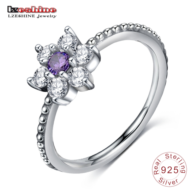 LZESHINE Luxury Cocktail Ring 925 Sterling Silver Flower  Rings with Purple Color stone  for Women Fashion Jewelry PSRI0067-B