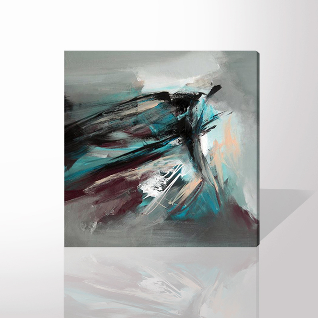 100% Hand Painted Modern Simple Color Abstract Painting on Canvas ...