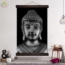 Silver Buddha Head Single Modern Wall Art Print Pop Picture And Poster Solid Wood Hanging Scroll Canvas Painting Home Decor