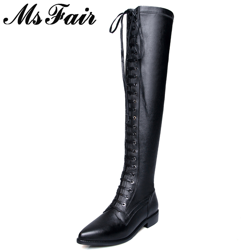 MSFAIR Women Boots Fashion Pointed Toe Square heel Over the Knee Boots Women Shoes Low Heel Lace Up Zipper Boot Shoes For Girl цена 2017