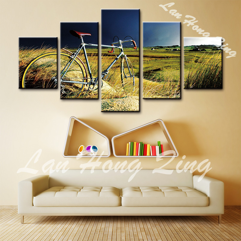 hot sales 5 pieces canvas oil painting bicycle landscape wall art ...