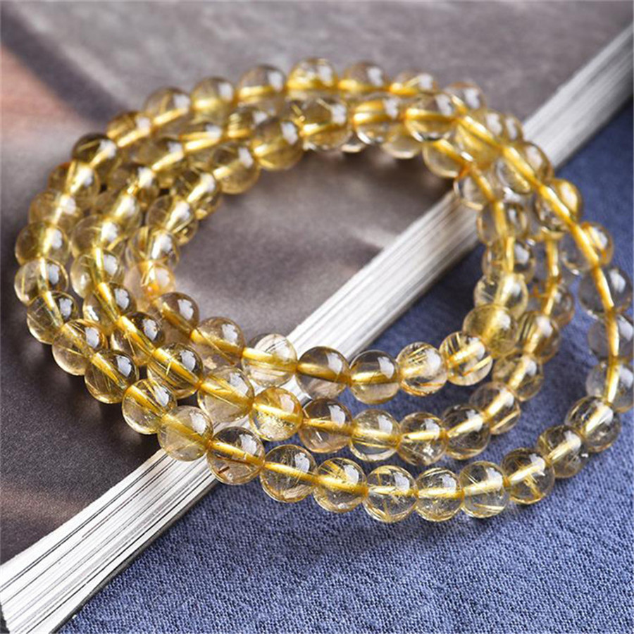 5MM Three laps Brazil Genuine Natural Yellow Gold Hair Rutilated Quartz Stone Round Crystal Bead Bracelet 5MM Three laps Brazil Genuine Natural Yellow Gold Hair Rutilated Quartz Stone Round Crystal Bead Bracelet