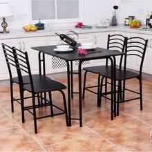 Goplus 5 PCS Black Dining Room Set Modern Wooden Dining Table with 4 Dining Chairs Steel Frame Home Kitchen Furniture HW54791+(China)