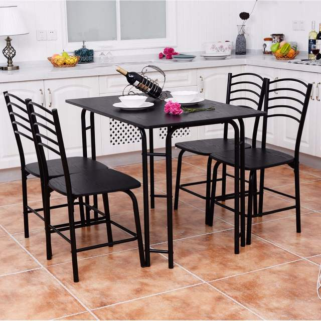 Goplus 5 Pcs Black Dining Room Set Modern Wooden Dining Table With
