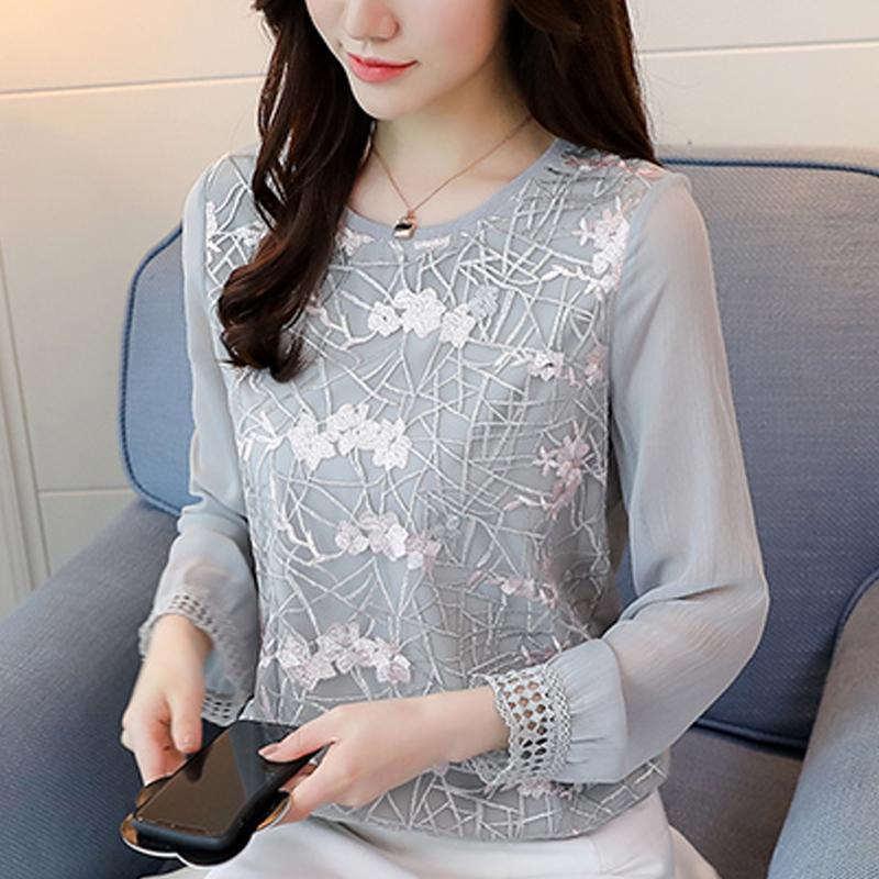 women' s clothing   Blouses     shirt   2019 Spring New Lace women tops O-neck Long Sleeve Autumn Floral lace sweet   Shirt   blusas 180E3
