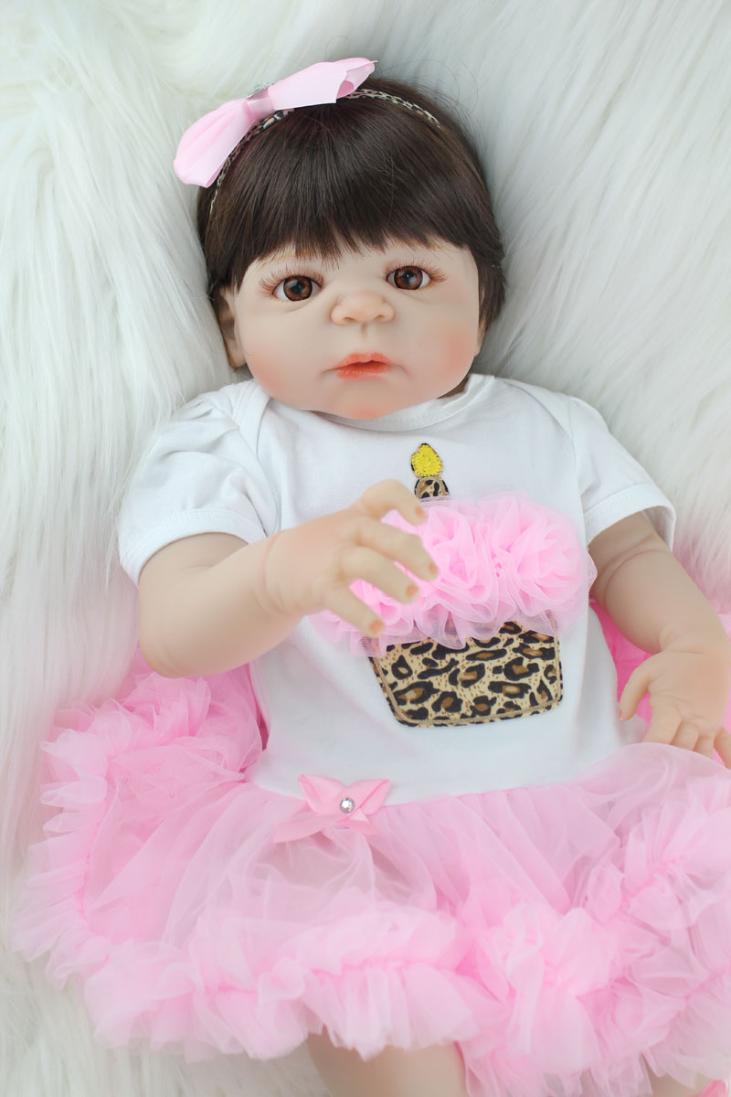 55cm Full Silicone Reborn Girl Baby Like Real Doll Toys Newborn Princess Toddler Babies Doll Lovely Birthday Gift Present 55cm full silicone reborn baby doll toy real touch newborn princess toddler babies alive bebe doll with pacifier girl bonecas