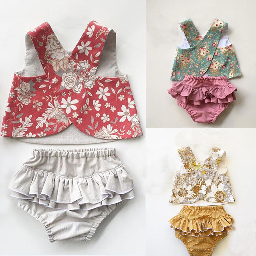 Flower Newborn Baby Girls Outfit Clothes Vest Tops T-shirt Tutu Shorts Pants Set Toddler Infant Girl Flower Lovely Soft Clothing fashion 2pcs set newborn baby girls jumpsuit toddler girls flower pattern outfit clothes romper bodysuit pants