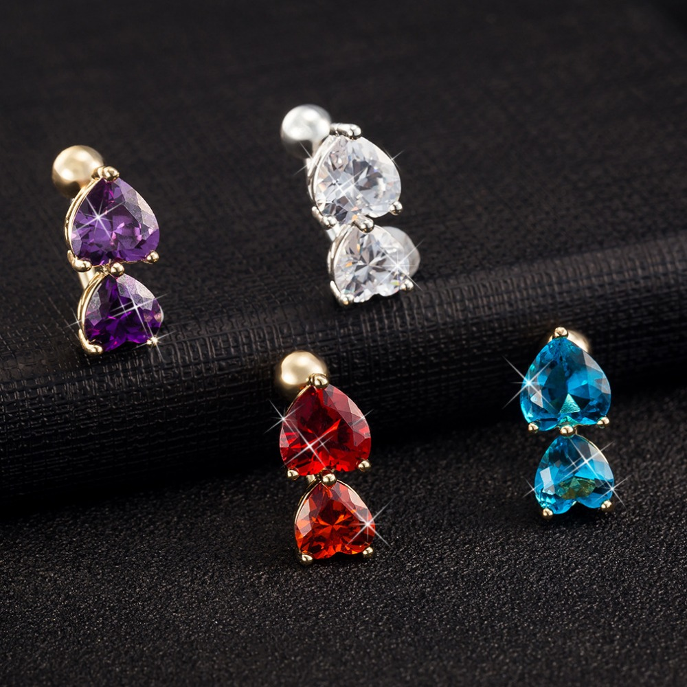 HTB1ICG1RpXXXXbdapXXq6xXFXXXD Big Double Hearts Zircon Gem Navel Ring - 4 Colors