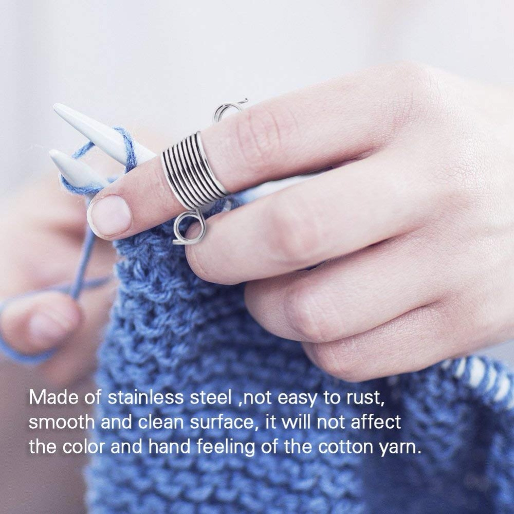 Metal Silver Wire Yarn Stranding Guide Knitting Thimble for Knitting Crafts