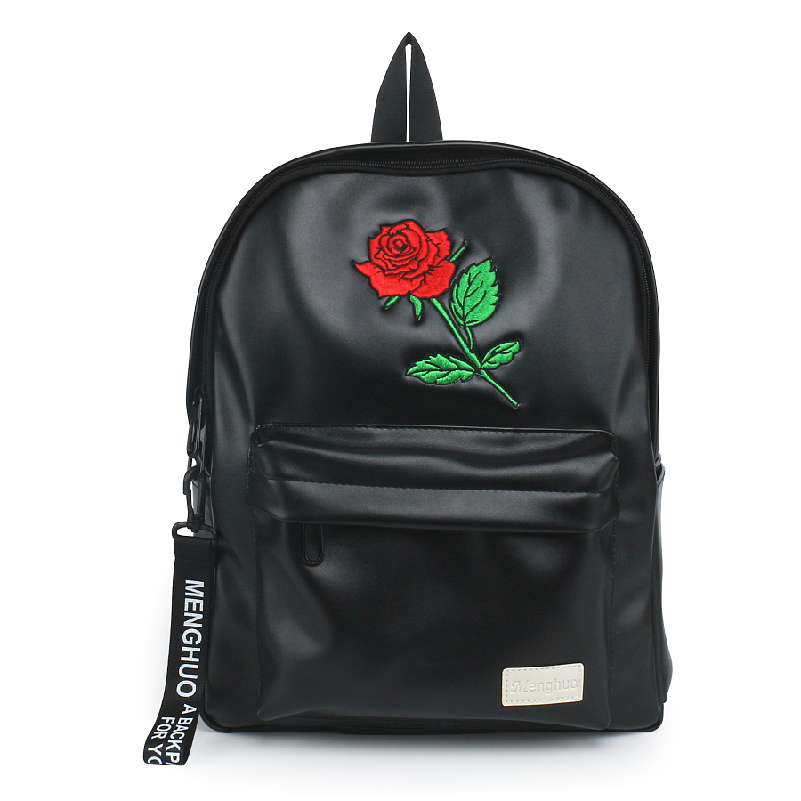 menghuo New Brand Backpack Black Women Backpacks Solid Vintage Soft PU Leather Embroidery School Bag For Teenage Girls Bolsas women backpack large school bags for teenage girls shoulder bag vintage pu leather backpacks black casual solid rucksack xa83h