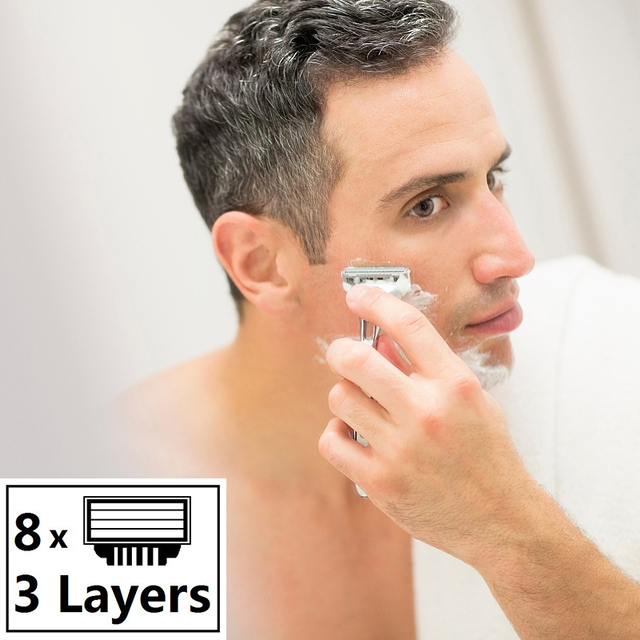 8pcs/lot High quality MachLieds Razor Blades for Men 3 layers Shaving Razor Blade Compatible for Gillettee Mache 3 Machine