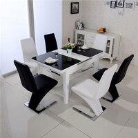 2 шт. Z форма обеденный стул искусственная кожа металлические ножки Лофт Lounge стул современный дизайн мягкий стул столовая кресло, мебель для