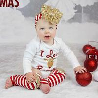 free shipping wholesale newest toddlers Christmas David's deer sequin hair band rompers stripe podotheca 3pc Set clothing set