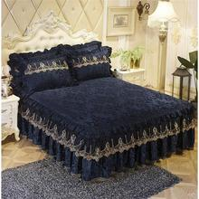 Luxury Lace Bedding Bed Skirt set 1/3pcs Velvet Thick Bedspread Bed Linen Pillowcase Princess Bedclothes bed cover King Queen 1 5m 3pcs letter print ruffle bed skirt set