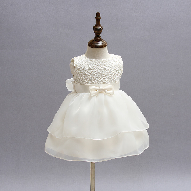 White Baby Girl Pageant Wedding Dress Kids Party Vestido Clothes Elegant  Tutu Baby Girl 1 Year d35c913c6e91