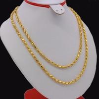 Adixyn Length 100cm Width 4mm Link Chain Necklaces Men Women Gold Color/Copper Africa Eritrea Chunky Chain/Dubai/Arab Items