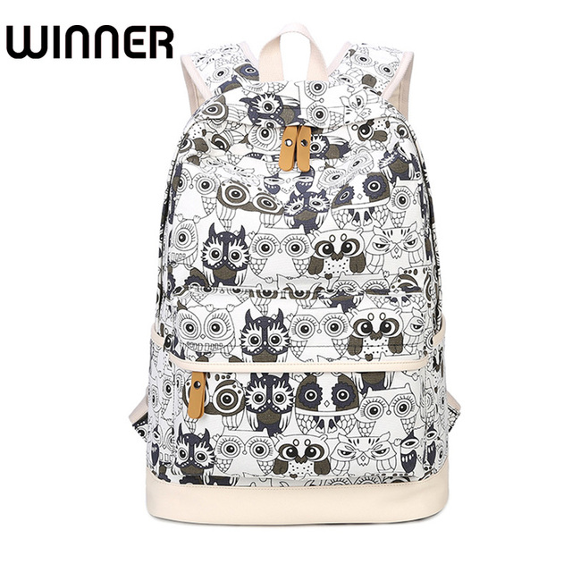 1a7dd977a High Quality Backpack Lady Animal Owl Printing Backpack Canvas Book Bags School  Bags for Teenage Girls Rucksack Female