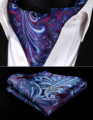 Pocket Square Wedding Party Classic RF431PS Púrpura Azul Bufandas de Paisley de Los Hombres Corbata de Seda Corbata Ascot Pañuelo Set