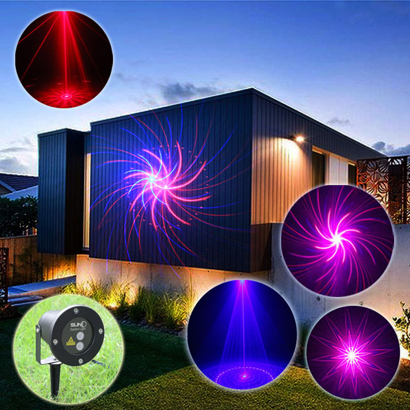 Red Blue Outdoor Xmas Laser Projector Show Lights 9 Patterns Time Setting Remote Holiday Party House Garden Lawn Lighting IP65 rg mini 3 lens 24 patterns led laser projector stage lighting effect 3w blue for dj disco party club laser