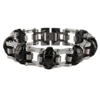 Punk Style Skull Metal Stainless Steel Chain Link Bracelet Bangles Cool Men Women Steampunk Jewelry Bracelets
