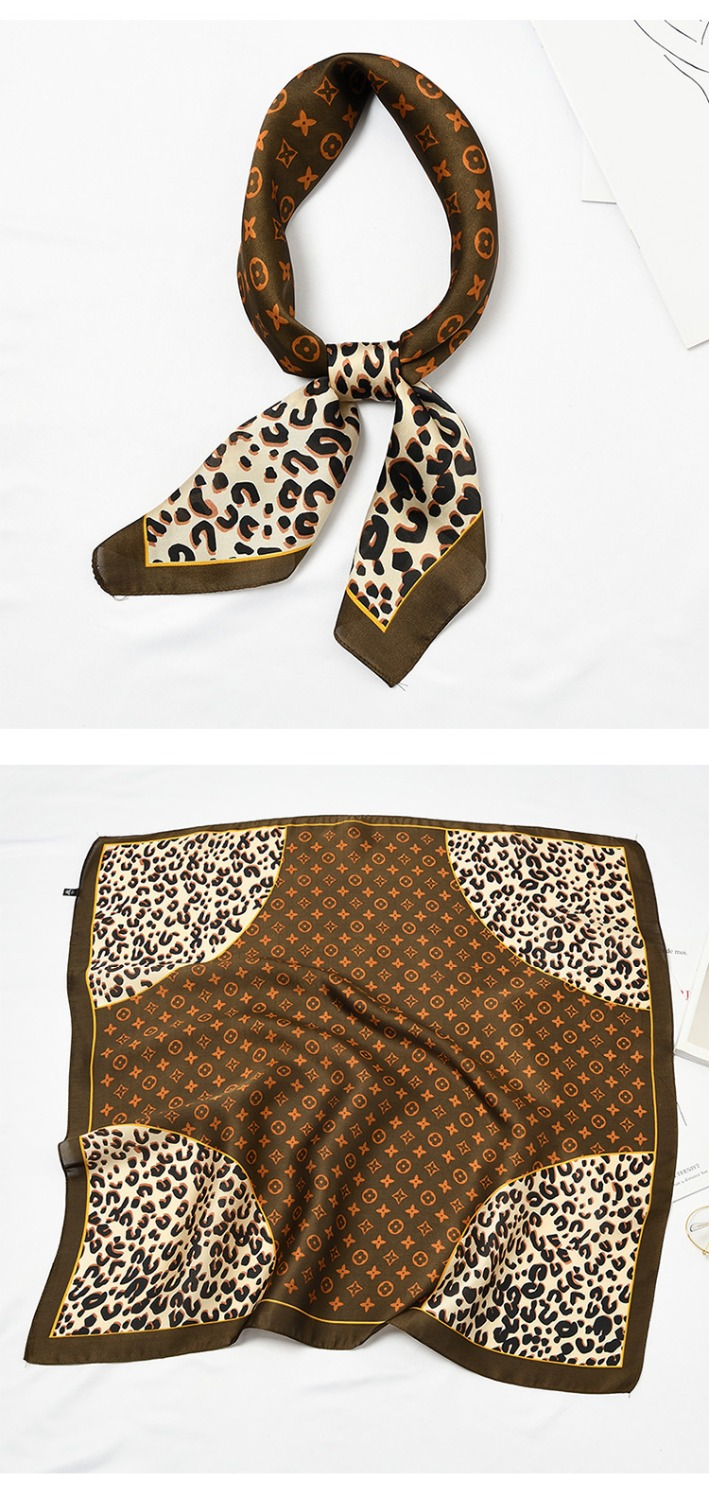Yishine 70*70 CM Silk   Scarf   Women Leopard Prints Multifunctional Square   Scarves   Foulard   Wrap   Small Hijab