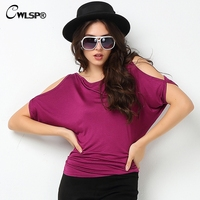 Hot Fashion T Shirt Vrouwen Strapless Batwing Loose Tops 11 Colors Solid Universal Casual T Shirt