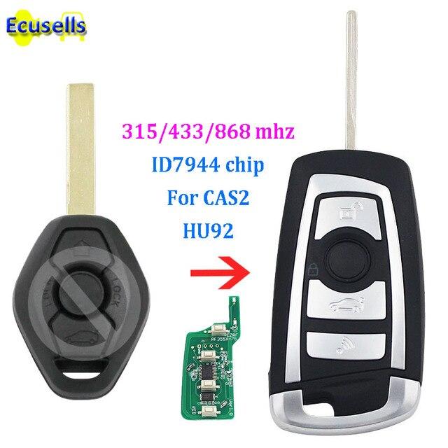 Llave remota de coche abatible modificada fob 315 mhz 433 mhz 868 mhz con chip ID7944 para BMW CAS2 1 3 5 de la serie 6 E93 E60 Z4 X5 X3 HU92 sin cortar