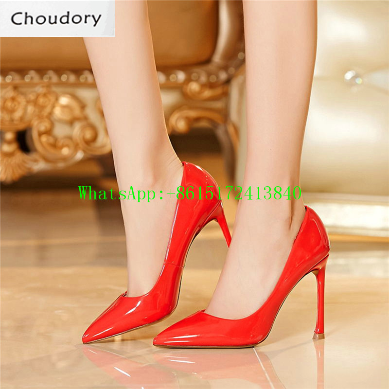 Choudory Super High Heel Pointed Toe Mary Janes Pumps Thin Heels Sexy Dress Party Fashion Shallow Solid High Quality Shoes Woman