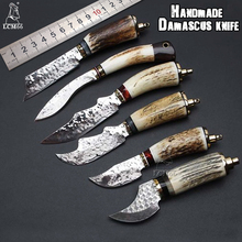 LCM66 Handmade forged Damascus steel hunting knife 60HRC Damascus Steel fixed knife Antlers handle with Leather sheath Tools