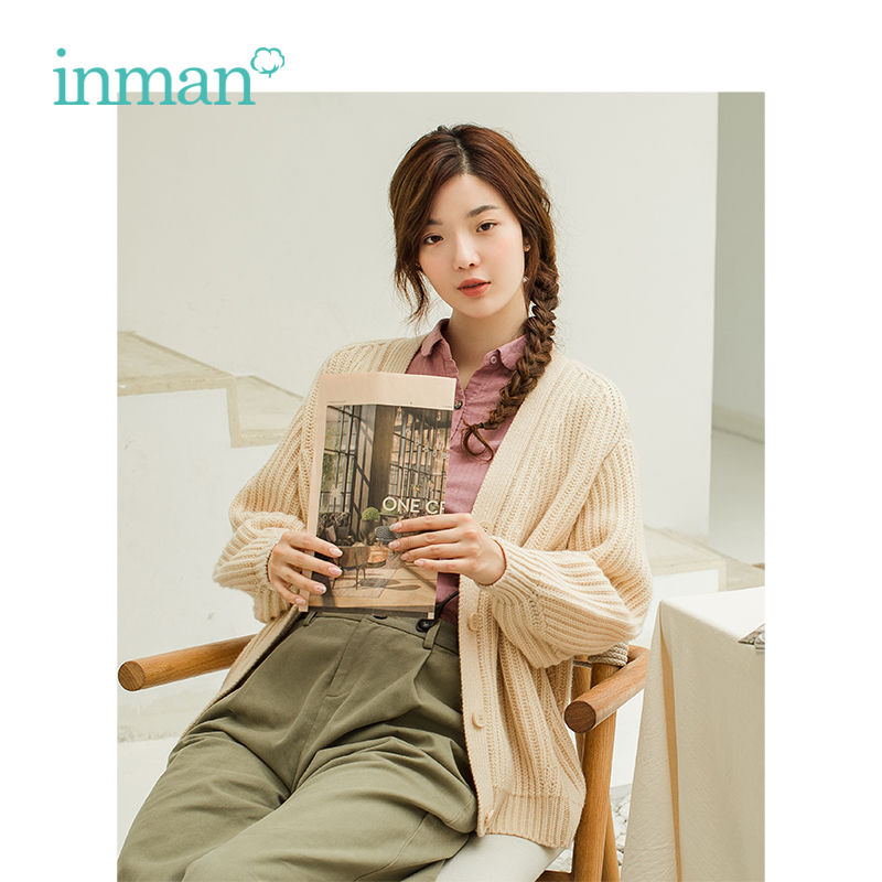 INMAN Winter V Neck Jacques Weave Loose Style Artistic Women Wool Warm Cardigan Sweater