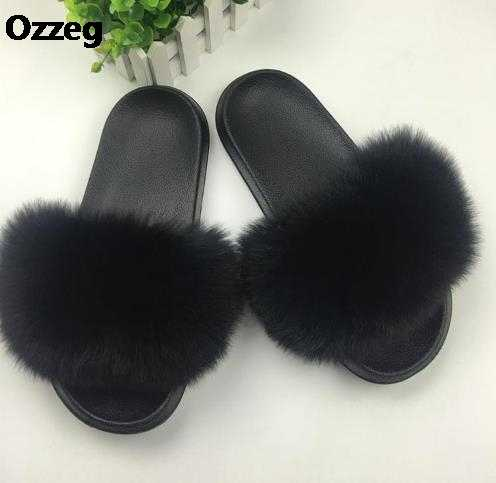 3468cd946 ... 25 colors Fox Hair Slippers Women Fur Home Fluffy Sliders Plush Furry  Summer Flats Sweet Ladies ...