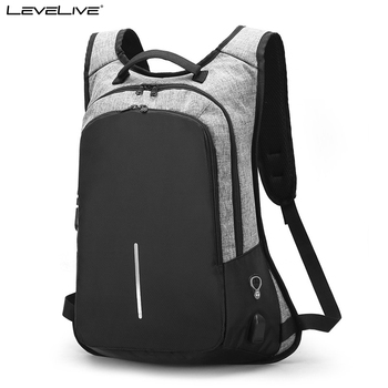 "Brand LeveLive Multifunctional Anti Theft 15.6"" Laptop Backpack Men Women USB Recharge Waterproof Bagpack Female Male Rucksack"