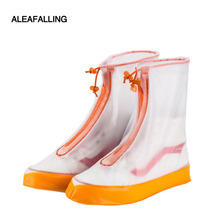 Aleafalling New fashion rain shoes cover women and man blue pink waterproof solid polyester rainproof boots portable in bagsSC53