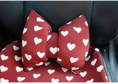 Love Red Чехлы рулевого колеса автомобиля Cotoon авто интерьер подголовник поддержка талии подушки сиденья чехлы Защита для девочек - Название цвета: 2pcs waist support