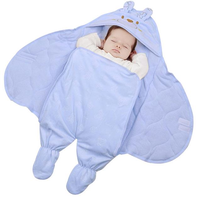 O bebê estava enrolado na primavera e no outono cobertores de algodão e espessamento do inverno do bebê recém-nascido saco de dormir divisão