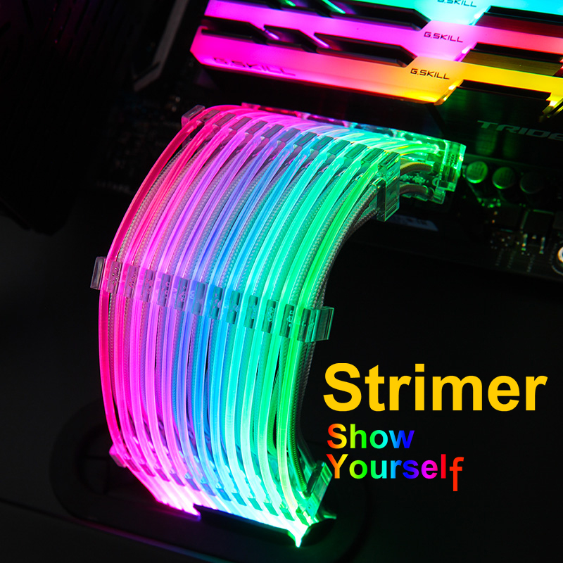 Lian Li Strimer-24/Strimer-8, 5V RGB Extension Cables, Rainbow Lighting, For 24Pin To Motherboard / Dual-8Pin To Graphics Card