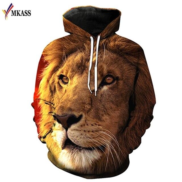 Nova Moda Dos Homens/Mulheres Camisolas 3D Impressão Leão Hoodies Outono Inverno Fina Com Capuz Capuz Tops Plus Size M-6XL
