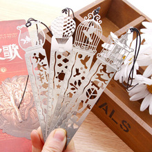 1 X Cartoon bird fish metal bookmark with ruler material escolar papelaria bookmarks for books stationery 10cm