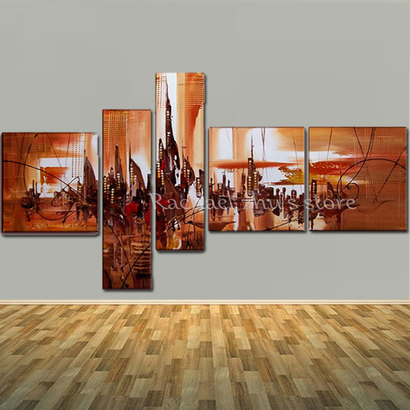 Large Hand Painted Abstract Cityscape Landscape 5 Panles Oil Paintings On Canvas Wall Art Picturers For Living Room Home DecorLarge Hand Painted Abstract Cityscape Landscape 5 Panles Oil Paintings On Canvas Wall Art Picturers For Living Room Home Decor
