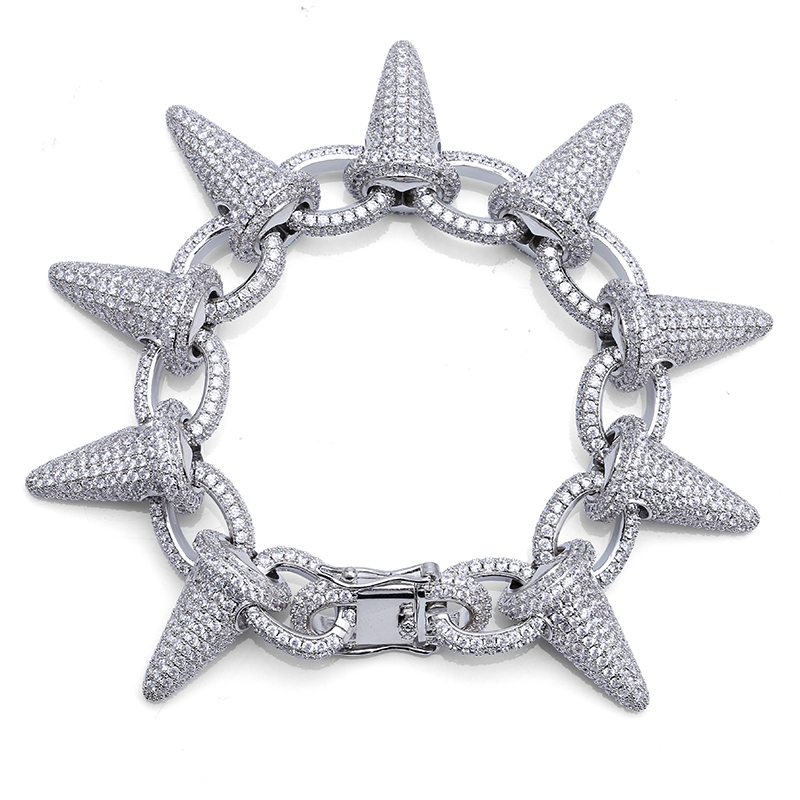 TOPGRILLZ Spikes Rivet Stud Mens Rivet Charm Bracelets 2018 Iced Out Gold Silver Color Bracelets For Men Hip Hop/Punk Jewelry buy mens string bracelets