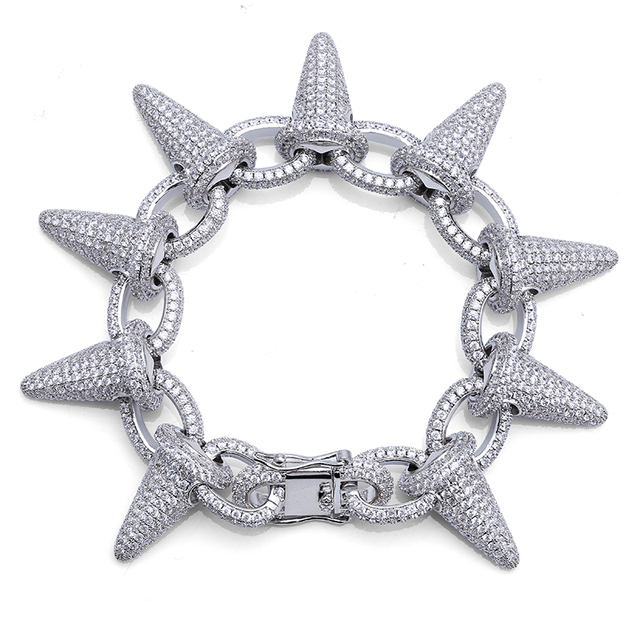 TOPGRILLZ Spikes Rivet Stud Mens Rivet Charm Bracelets 2018 Iced Out Gold Silver Color Bracelets For Men Hip Hop/Punk Jewelry